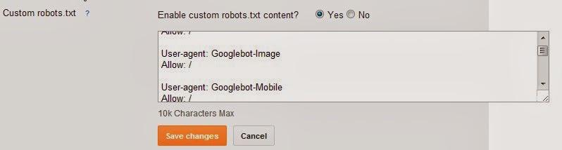 blogger robots.txt feature