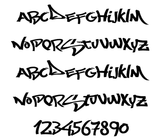 Characters graffiti alphabet letters fonts arrow design