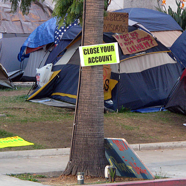 Occupy Los Angeles - sign: Close Your Account