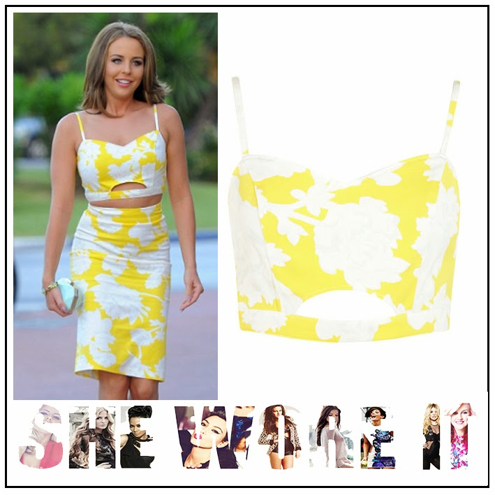 body con, Bra Crop Top, Co-ord Set, Lydia Bright, Matching, Miss Selfridge, Pencil Skirt, Printed Floral, The Only Way Is Essex, TOWIE, White, Yellow,