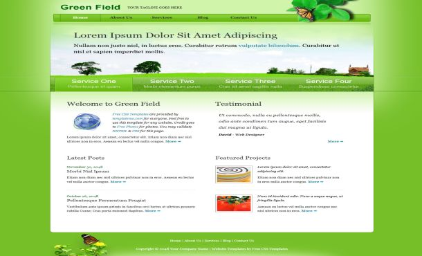 Free CSS Green Field Nature Website Template