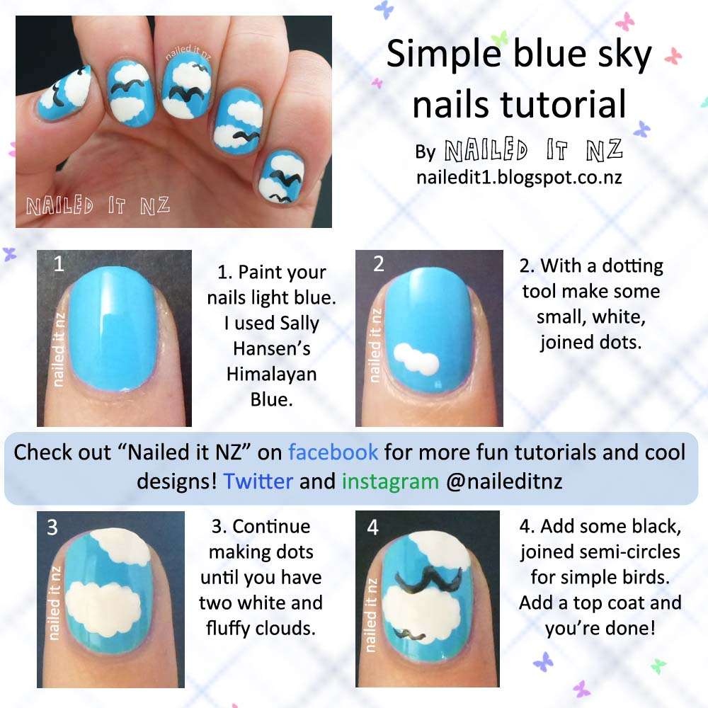 Nail art for short nails #10 - Blue sky nails