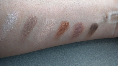 Maybelline The Nudes palette swatches from top row 6 shadows