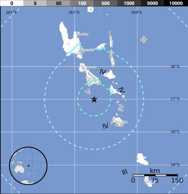 Epicentro sismo 6,4 grados en islas vanuatu, 01 de Noviembre 2012