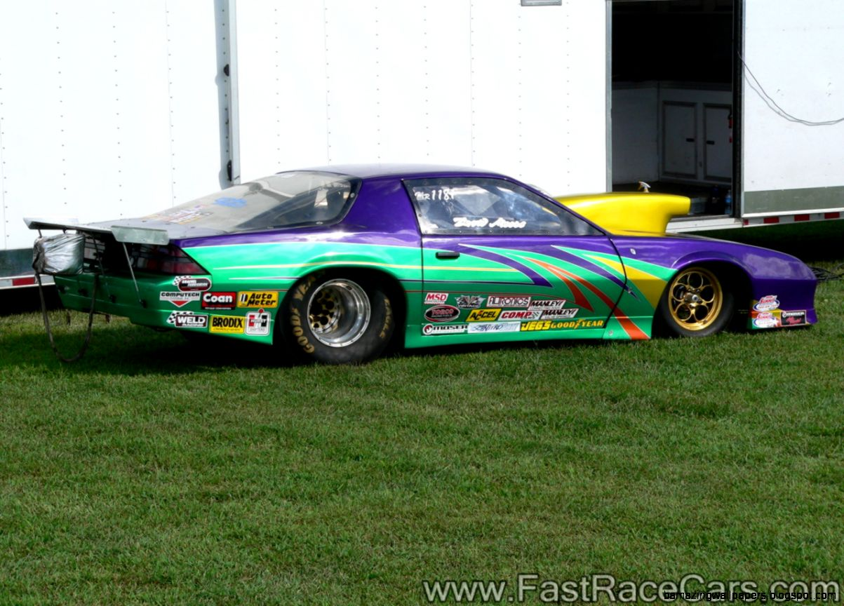 Drag Race Cars  Camaros  Picture of 3rd Generation Green and