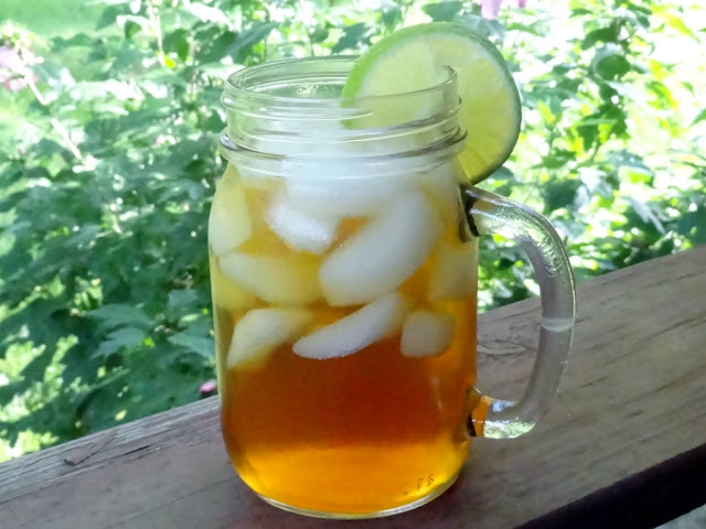 Summer sipping iced tea on the front porch