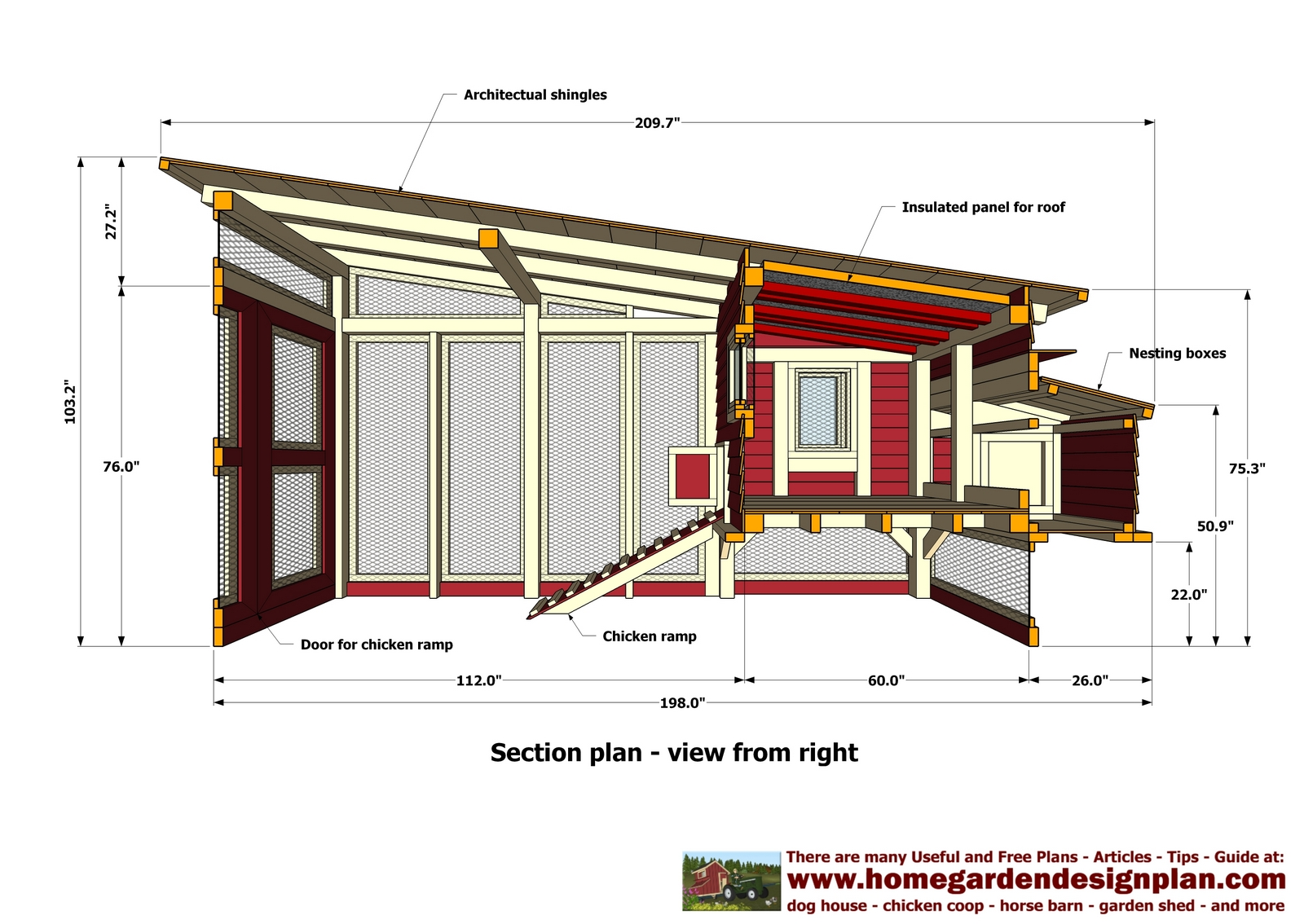 Home garden plans m100 chicken coop plans construction for Poultry house plans for 100 chickens