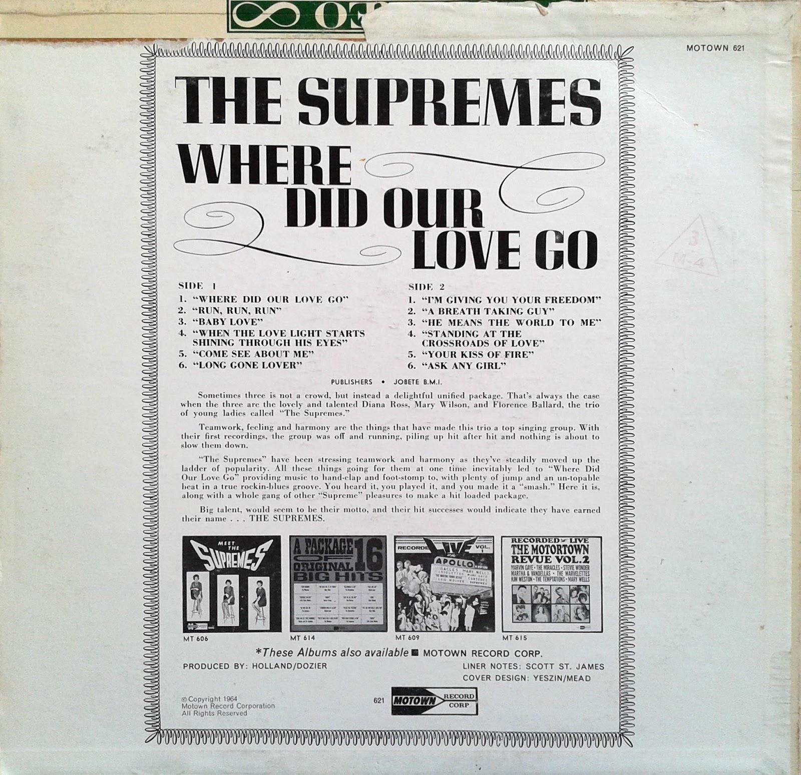 Supremes where did our love go lyrics