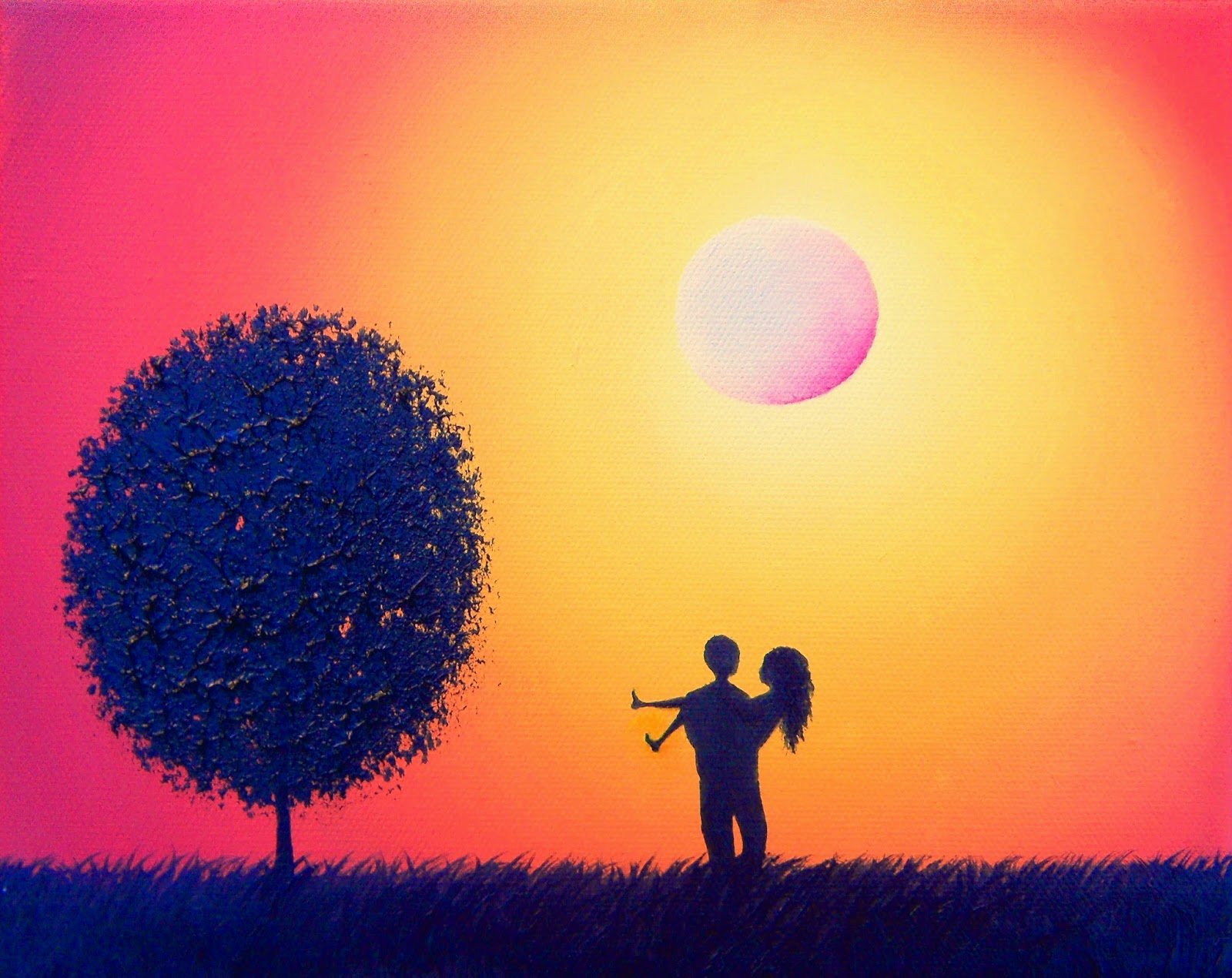 Silhouette Couple Painting, Red Orange Yellow Sunset Wall Art, Oil ...
