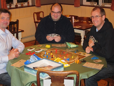Discworld: Ankh-Morpork - The players from left to right Robin (a Lord), Oliver (Lord Vetinari ) and Simon (Chrysoprase) the eventual winner