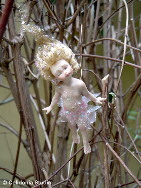 OOAK pink Fairy among the branches