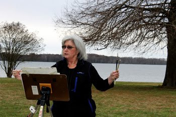 Donna painting in winter at Linden Plantation
