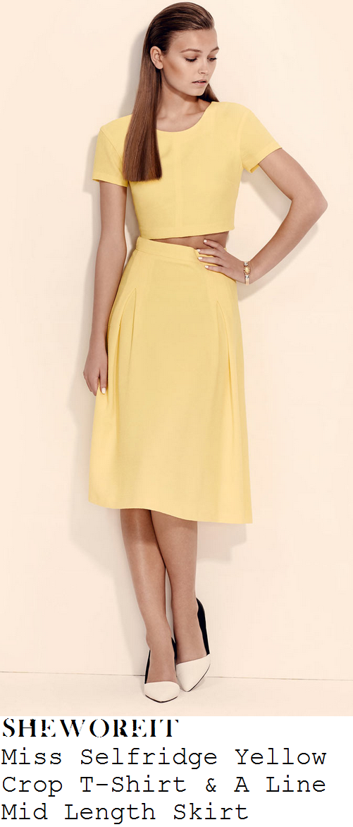sam-faiers-bright-yellow-short-sleeve-crop-top-and-high-waisted-pleated-midi-skirt-co-ords