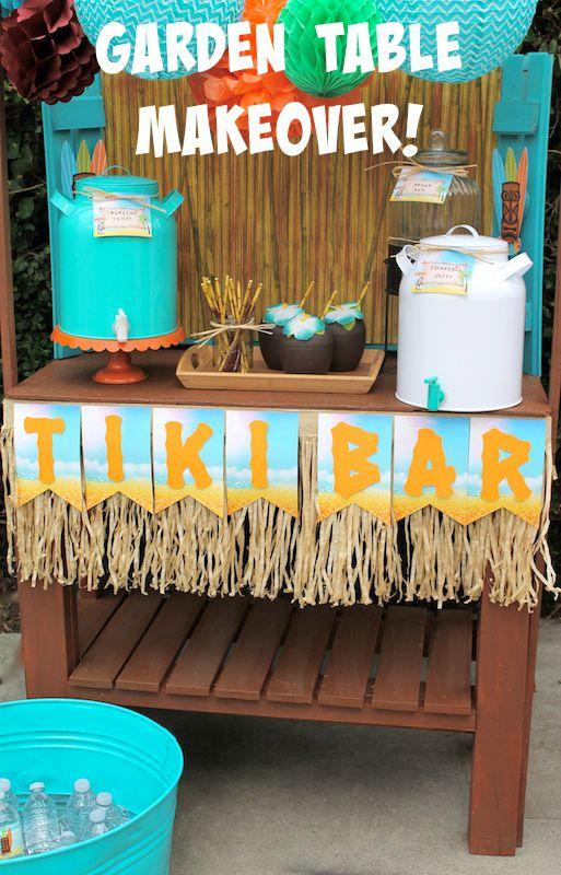 Summer tiki bar decoart garden table makeover laura 39 s little party for Summer garden and bar