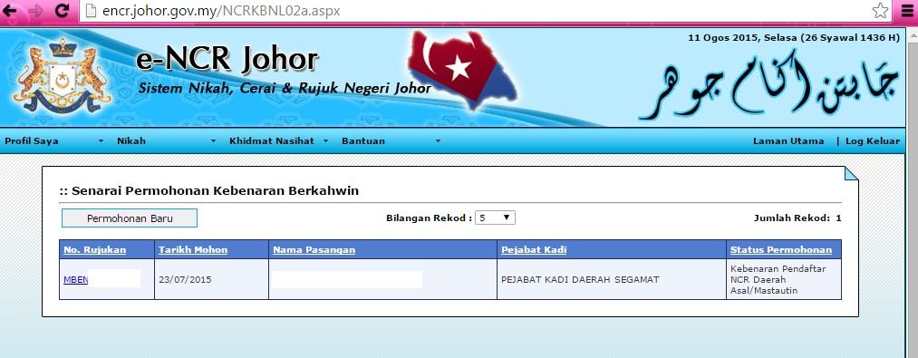Prosedur Permohonan Nikah Negeri Johor 2015 Online E Ncr Blog