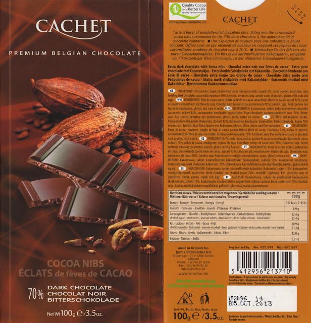 tablette de chocolat noir gourmand cachet noir eclats de fèves de cacao 70