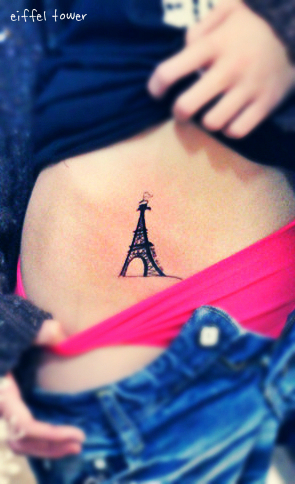 A little eiffel tower tattoo on the hip