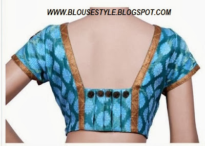 BLUE BACK NECK BLOUSE WITH GOLD BORDER