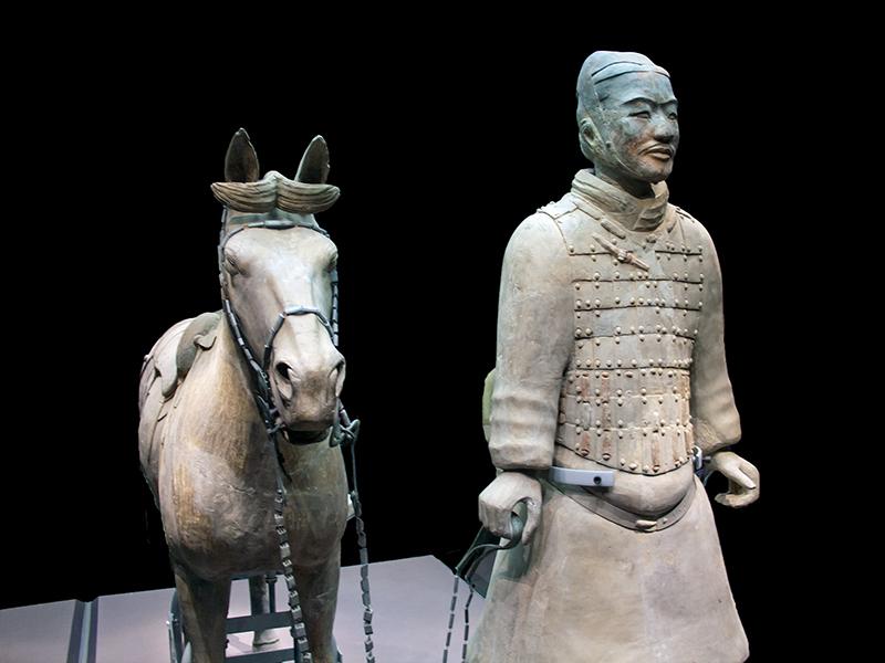 Un soldat et sa monture en terre cuite à Xi'an