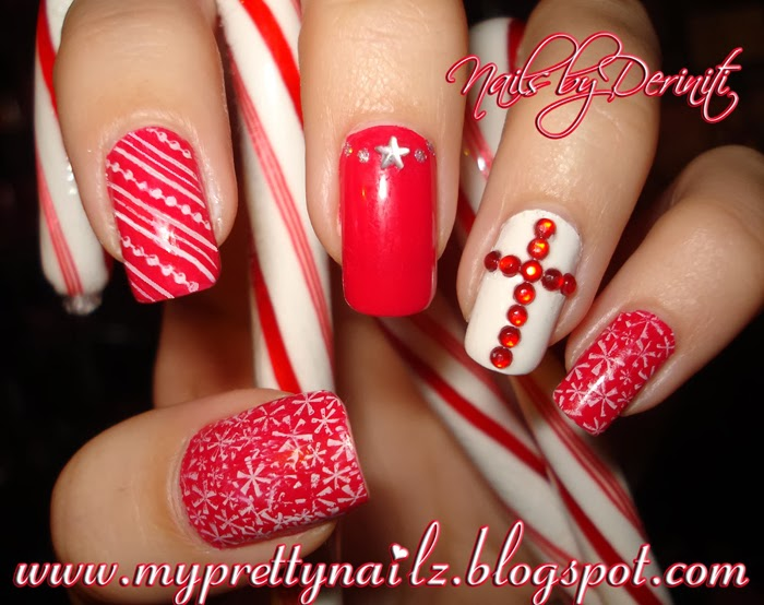 My Pretty Nailz: Christmas Nail Art Stamping with Rhinestone Cross ...