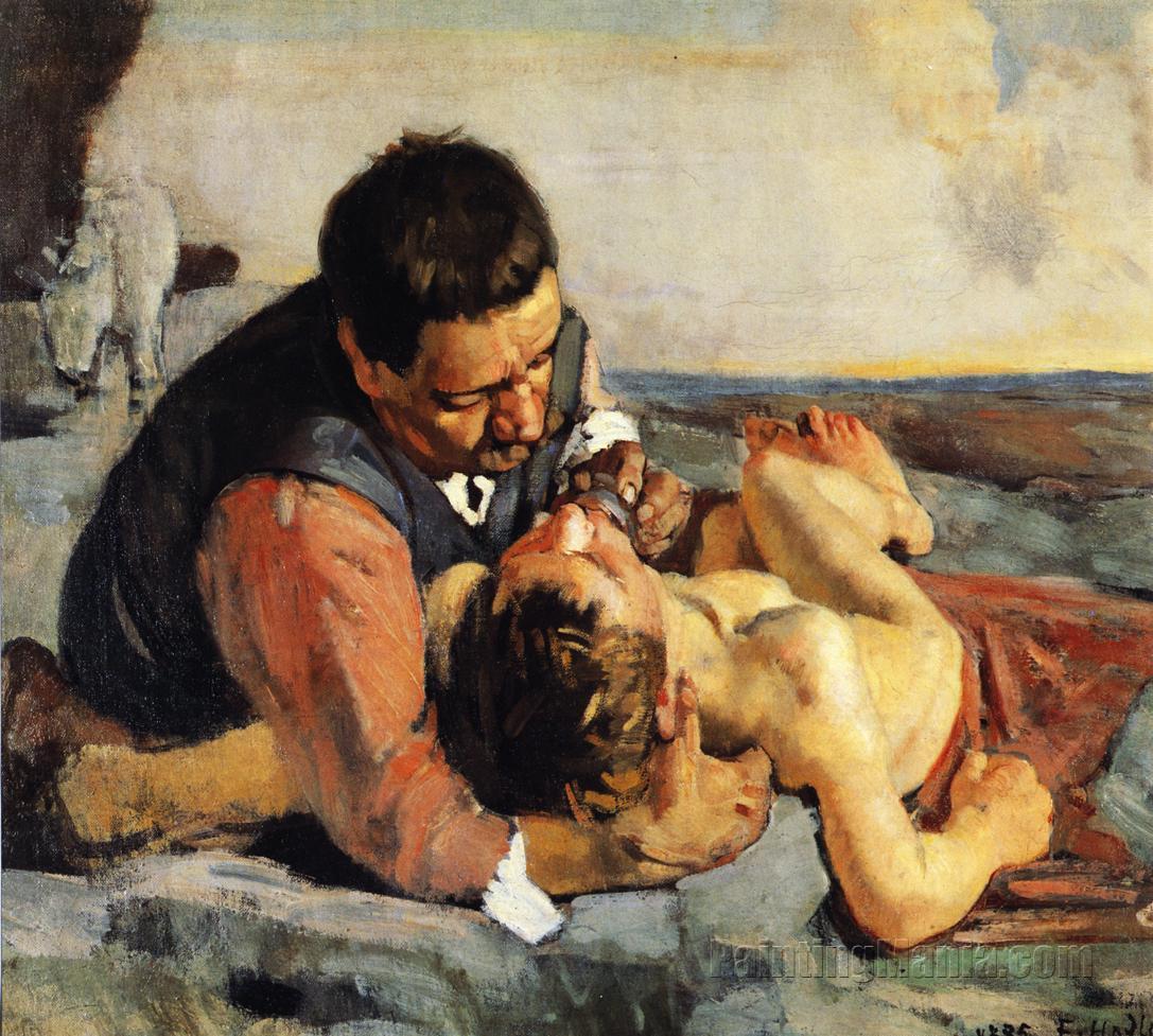 Good Samaritan holding injured man