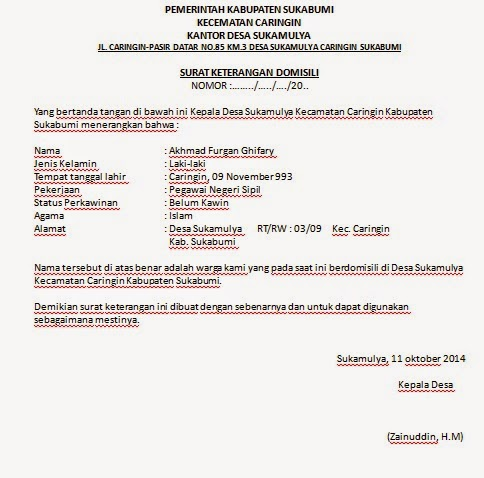 Contoh Surat Keterangan Domisili 2019 Oktober 2019