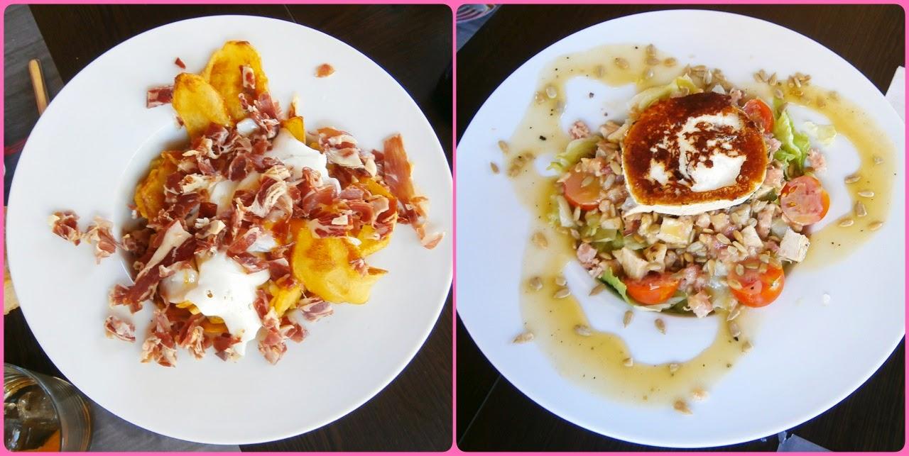 Huevos con jamón y ensalada de pollo de Baco -AcericoPop-
