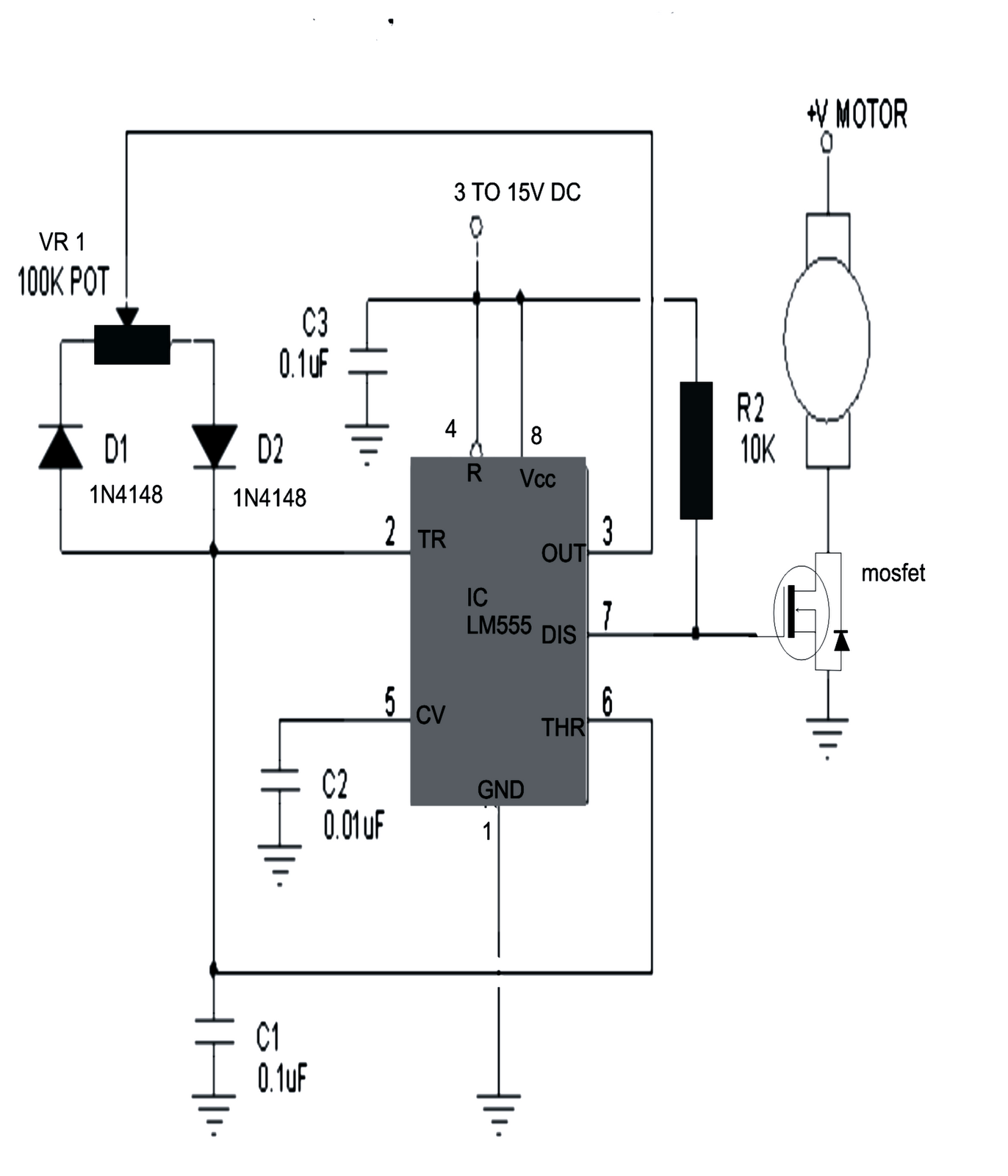simple dc motor speed controller circuit electronic circuit projects the diagram of the proposed simple dc motor speed controller circuit can be seen below