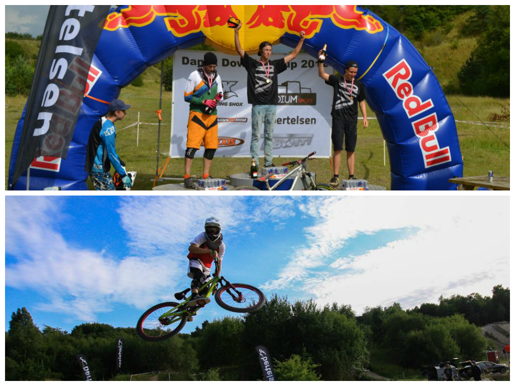 Downhill Denmark. Frederik Leth whipping and a podium picture from Randers