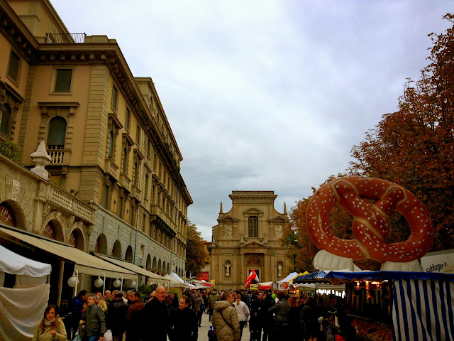 Image of food and craft market in the center of Bergamo, Italy.