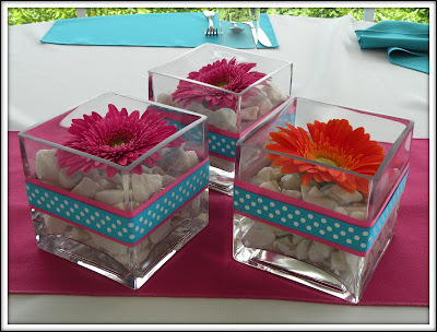 pink and orange daisy centerpieces