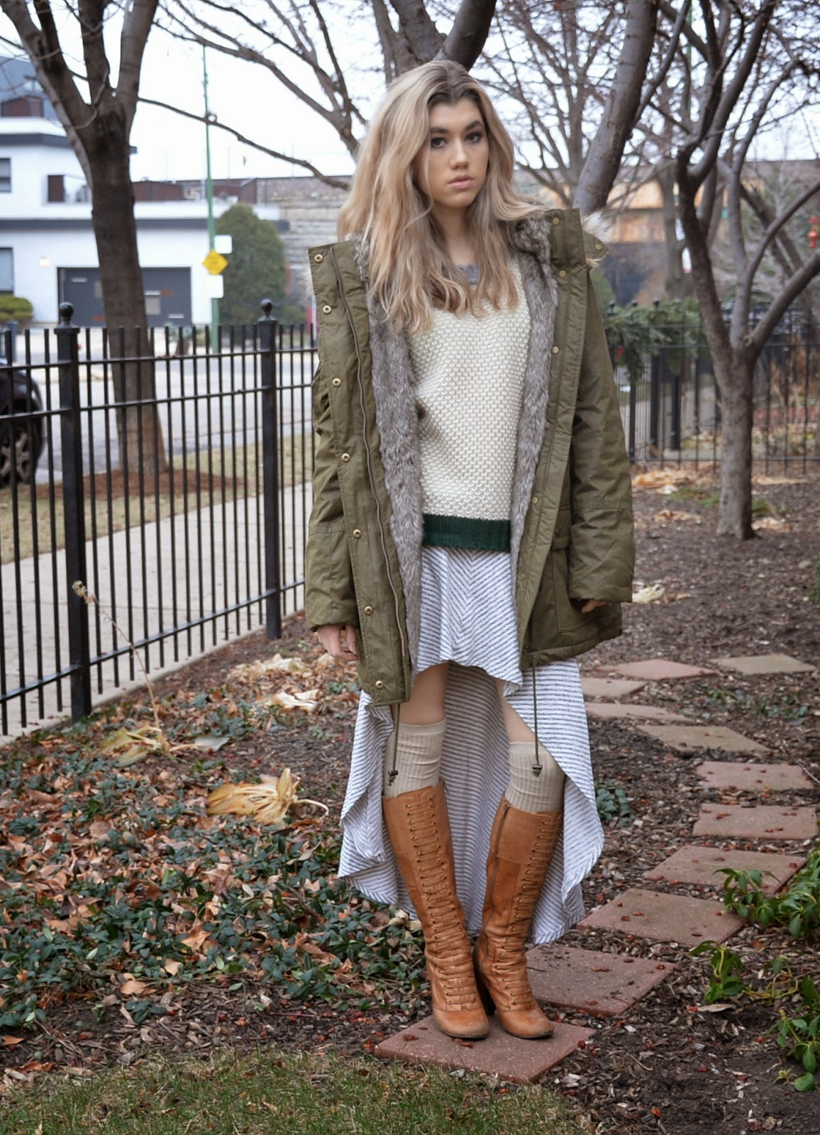 fall fashion style winter coat skirt love