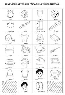 Atividade para alfabetização - Complete a letra inicial 2.