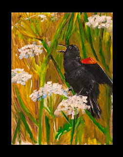 oil painting black bird singing