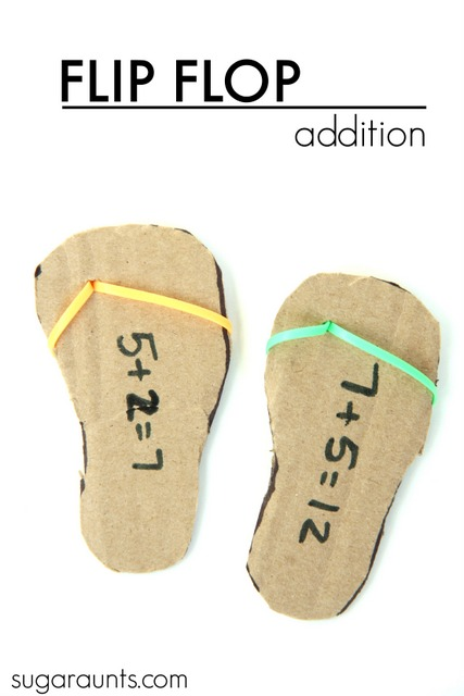 Flip flop math: This is a fun math activity for first graders to practice the Commutative Property of addition with flip flops!