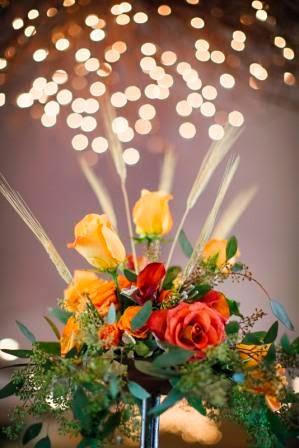 wheat wedding decor, orange wedding decor, fall wedding decor, rustic chic wedding decor, McGowan Images