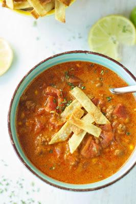 Crockpot Beef Enchilada Soup from Crockpot Gourmet featured on SlowCookerFromScratch.com