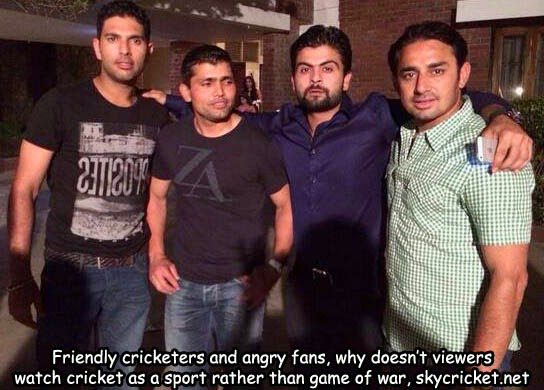Image result for pakistani and indian cricketers together