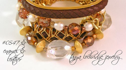 Crystal Quartz, Pearl & Gold Vermeil in a Stack with Leather & Enamel