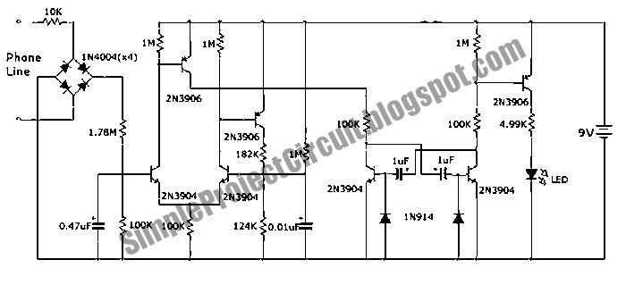 simple project circuit  phone incoming call flasher circuit