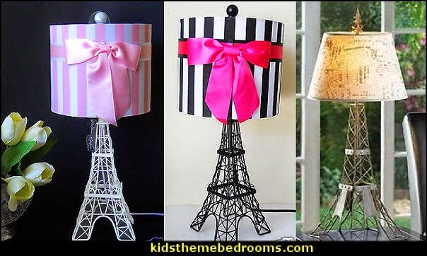Eiffel tower table lamp with black shade best inspiration for striped drum shade with pink ribbon accent paris themed table lamp aloadofball Choice Image