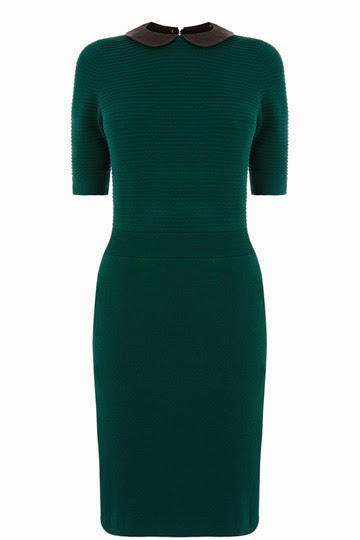 dark green dress with black collar