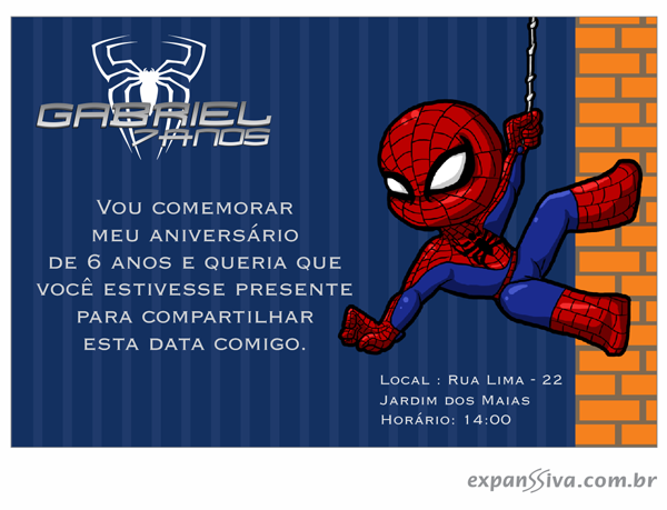 Convites De Aniversário Do Homem Aranha Gráfica Expanssiva