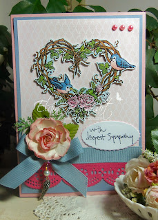 Beautiful card created by Elaine from Cards Cats Collection with the tweet wreath digital stamp