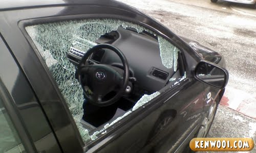 car window shattered