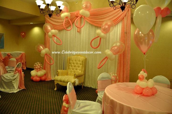 Celebrity event decor banquet hall llc for Baby shower decoration ideas with balloons