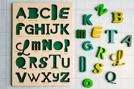 puzzle abecedario tipografico