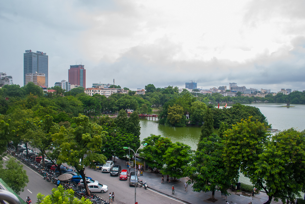 view of hanoi lake from the city cafe