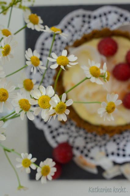 zuckerfrei Pistazien Mandeln Kokos Käsekuchen Himbeeren Tartelettes