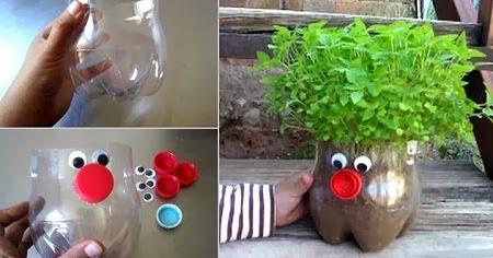 Macetero divertido con botellas de plastico for Maceteros de botellas